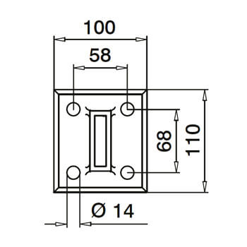 Linear Line Baluster Base Flange - Dimensions