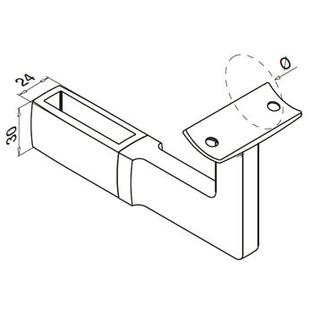 Linear Line Adjustable Handrail Bracket - Dimensions