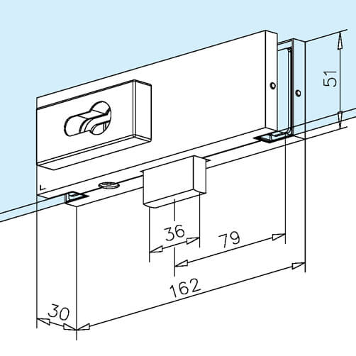 Glass Door Patch Lock - Dimensions