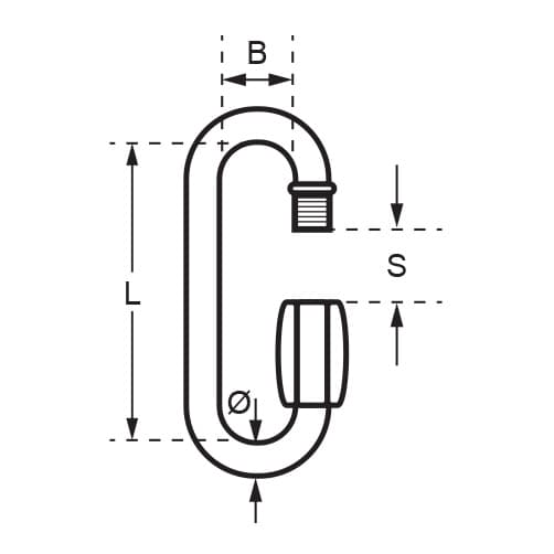 Stainless Steel Long Quick Link - Unstamped - Diagram