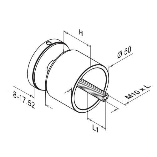 Flat Mount Long Round Glass Clamp - Diagram