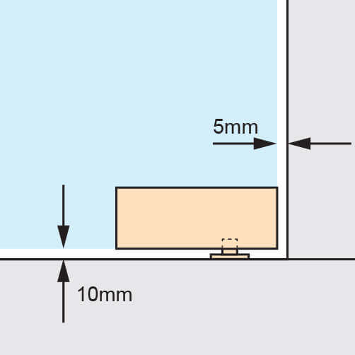 Glass Door Patch Fitting - Lower Corner - Spacing