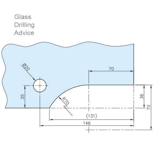 Glass Door Patch Fitting - Lower Corner - Drilling