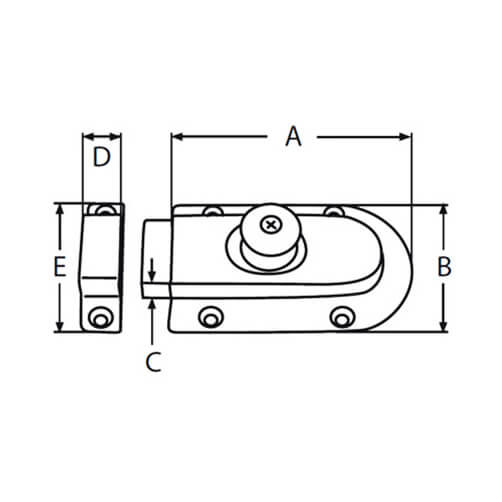 Magnet Slide Latch - Dimensions