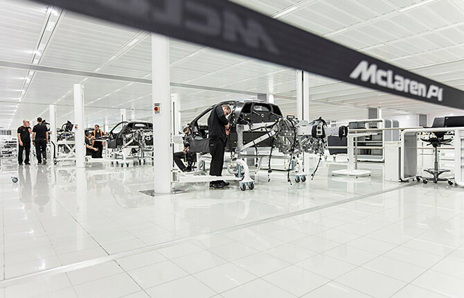 Balustrade in use at the McLaren factory, Surrey