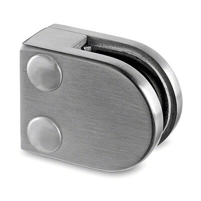 Stainless Steel Glass Clamp - D Shape - 6mm to 8mm Glass Thickness - Flat Mount
