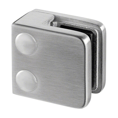 Stainless Steel Glass Clamp - Square - 6mm to 10mm Glass Thickness - Flat Mount