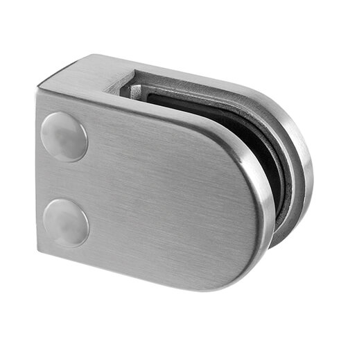 Stainless Steel Glass Clamp - D Shape - 6mm to 10mm Glass Thickness - Flat Mount