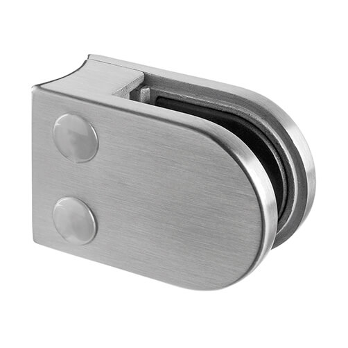 Stainless Steel Glass Clamp - D Shape - 6mm to 8mm Glass Thickness - Tube Mount
