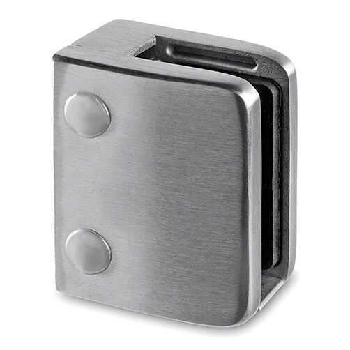 Stainless Steel Square Glass Clamp for Glass up to 15mm Thickness - Flat Mount