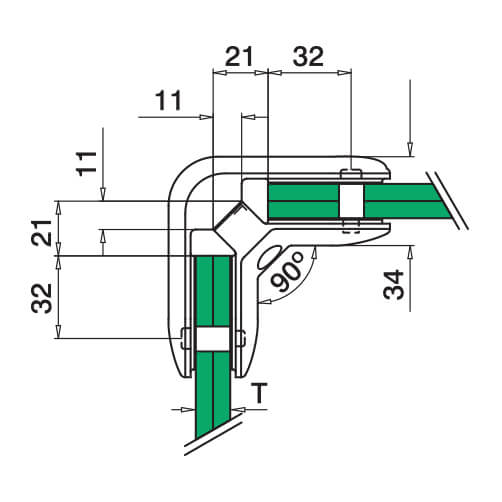 90° D Shaped Glass Connector - Dimensions