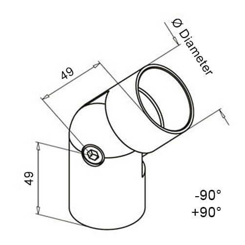 Hardwood Handrail Adjustable Elbow With Adapters - Modular Stainless Steel - Diagram
