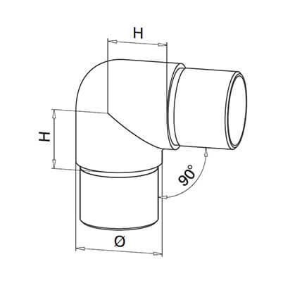 Duplex Grade 90 Degree Tube Connector Technical Drawing