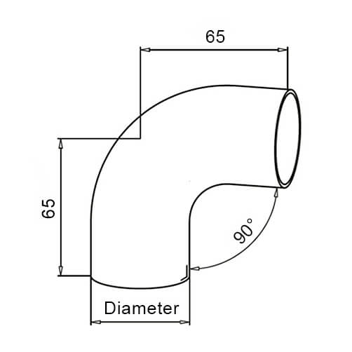 Hardwood Handrail Elbow With Adapters - Modular Stainless Steel - Diagram