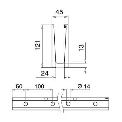 Bottom Mounting Profile for Glass Channel Balustrade Dimensions