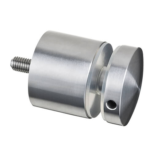 Stainless Steel Long Round Glass Clamp - Flat Mount for Glass up to 18mm Thickness