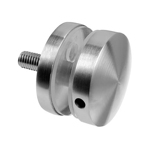 Stainless Steel Short Round Glass Clamp - Flat Mount for Glass up to 18mm Thickness