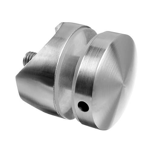 Stainless Steel Short Round Glass Clamp - Tube Mount for Glass up to 18mm Thickness