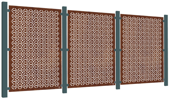 Motif Decorative Garden Screen Kit - Corten Steel