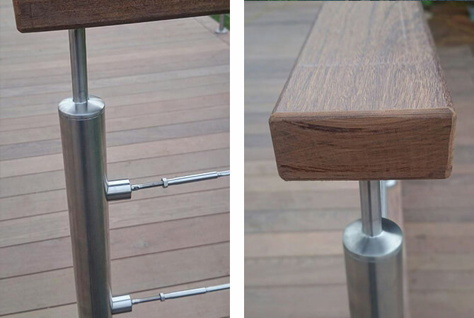 Stainless steel tubular mount balustrade with wire infill.