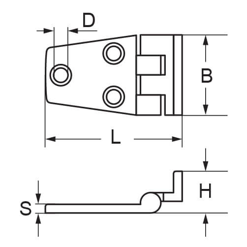 Offset Hinge - 5 Hole - Dimensions