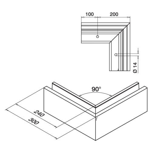 Outer Corner - Top Mount �F� Shaped Base Profile - Dimensions
