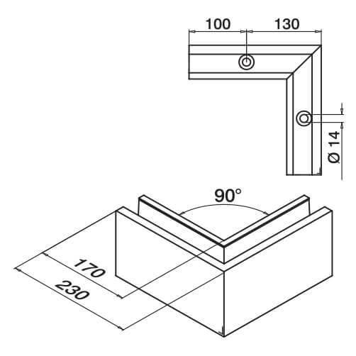 Outer Corner Profile - Top Mount - Dimensions