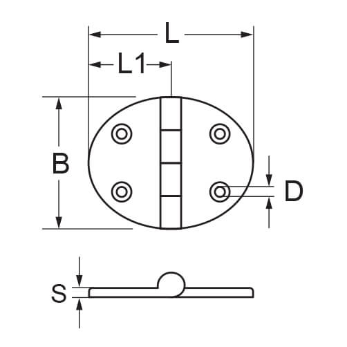 Oval Hinge (Horizontal) - Dimensions
