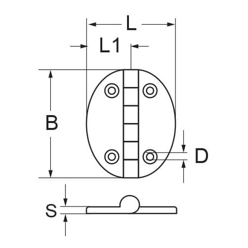 Oval Hinge - 4 Hole - Dimensions