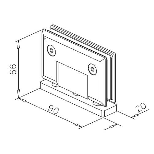 Pivot Glass Swing Door Hinge - Dimensions
