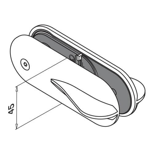Premium Stainless Steel D Shaped Glass to Glass Door Lock - Diagram