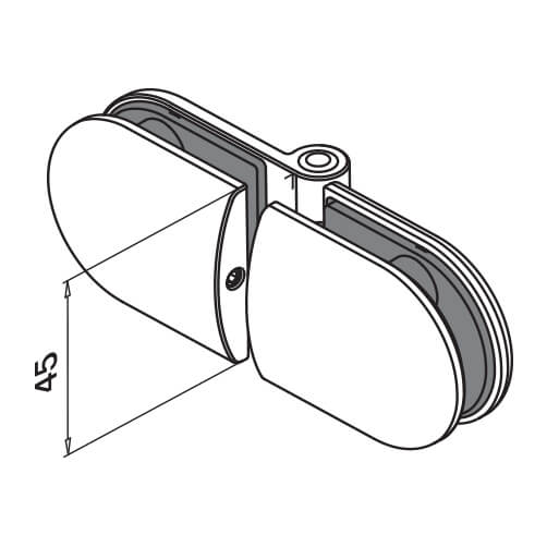 Premium Stainless Steel Glass to Glass Hinge - D-shaped Clamp - Diagram