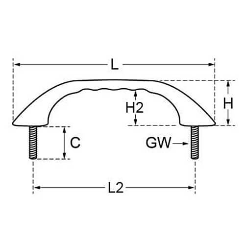 Stainless Steel Pull Handle Bow Shaped - Hidden Fixing Diagram