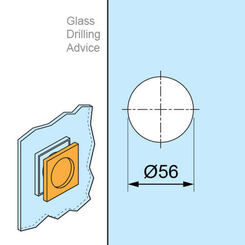 Chrome Door Grip - Square - Glass Drilling