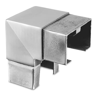 Rectangular Vertical Corner Handrail Connector For Glass Channel Balustrade