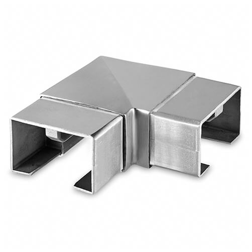 Rectangular Handrail Corner Connector For Glass Channel Balustrade