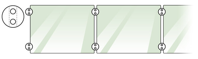 Centre Glass Clamp and Adapter Positions