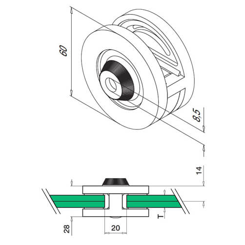Two Way Round Glass Clamp - for Glass up to 12mm Thickness - Diagram