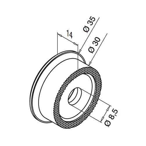 Flat Mount Round Glass Clamp Adapter - Diagram