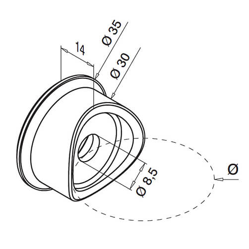 Tube Mount Round Glass Clamp Adapter - Diagram