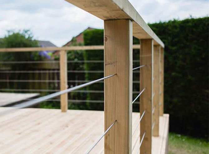 Stainless Steel Balustrade Wires Running Through Intermediate Posts