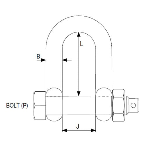 E Type Stainless Steel Safety D Shackle - Diagram