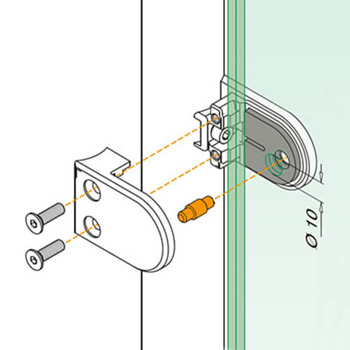 Stainless Steel Security Pin for Glass Clamp - Diagram