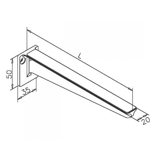 Glass Shelf Support - Dimensions