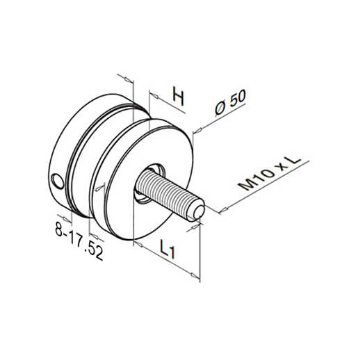 Flat Mount Short Round Glass Clamp - Diagram