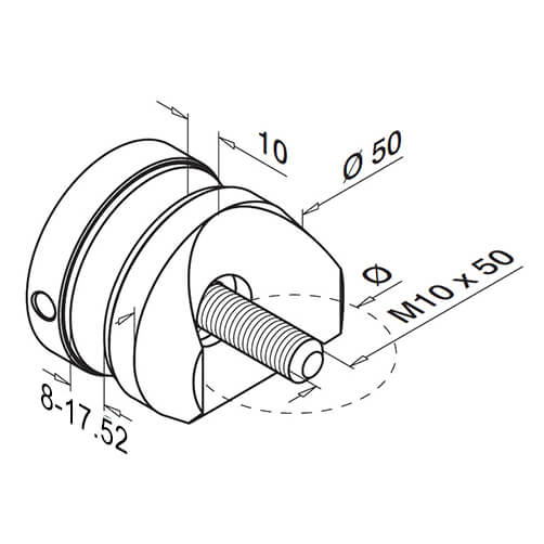Tube Mount Short Round Glass Clamp - Diagram