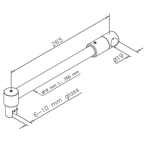 Shower Screen Support Arm - Dimensions