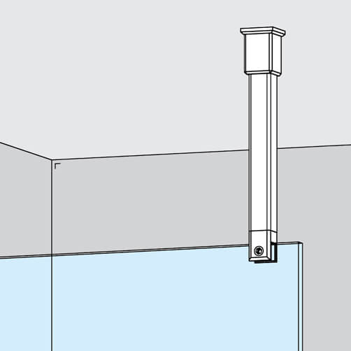 Square Shower Screen Support Arm - Vertical