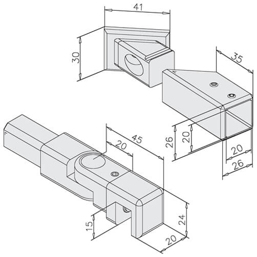 Square Screen Support - 45 Degree - Dimensions