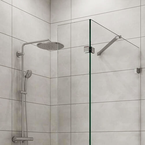 Stainless Steel and Chrome Shower Screen Support Arm